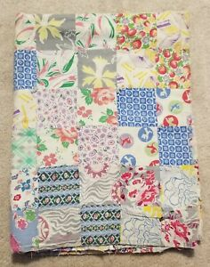 Vintage Old Cotton Feedsack Printed Block Quilt Top Throw Needs Finishing