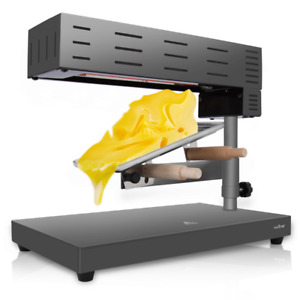 Nutrichef Electric Raclette Cheese Melter Swiss Style Warmer Melts Steel