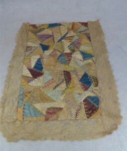 Antique Quilt Doll Bed Crazy Silk Miniature Lace 13x17 Victorian Original 1890