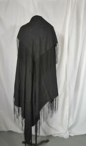 Antique Shawl Embroidered Throw Silk 52 Sq Large Fringe Black Victorian