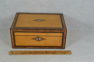 Sewing Box Victorian Maple Mop Inlaid Compartments Antique 1800