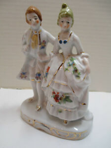 Vtg 1930s Lusterware Porcelain Figurine Victorian Colonial Couple Seiei Japan