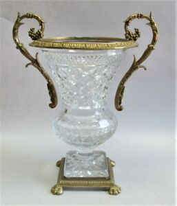 Very Fine 13 Gilt Bronze Cut Crystal Mounted Vase C 1930 1950 Vintage