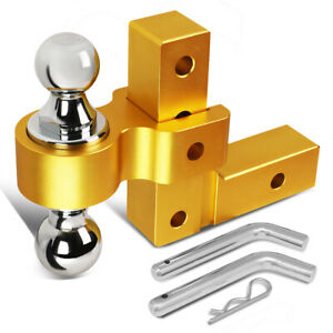 Aluminum 6 Adjustable Dual Ball Mount Trailer Tow Towing Hitch 2 Receiver Gold