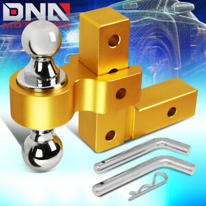 For 2 Receiver Aluminum 6 Drop Adjustable Tow Towing Hitch Gold W dual Ball