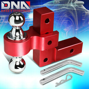 For 2 Receiver Aluminum 6 Drop Adjustable Tow Towing Hitch Red W dual Ball