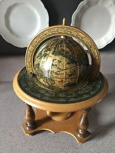 Vintage Himark Italy Wood Table Top Zodiac Astrology Old World Globe Stand