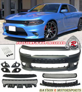 Srt 8 Hellcat Style Front Bumper W Grill W Fog Covers Fit 15 21 Dodge Charger