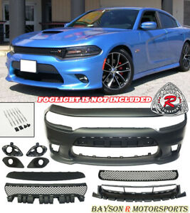 Srt 8 Hellcat Style Front Bumper W Grill W Fog Covers Fit 15 19 Dodge Charger