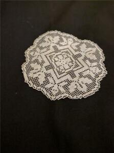Antique Filet Lace Small Doily Or Coaster Ivory Colored Excellent Condition Y