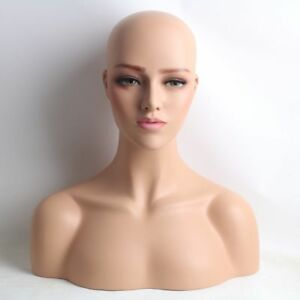 Top Quality Realistic Fiberglass Female Mannequin Head Bust For Wigs Hat Display