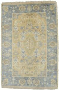 Small Floral Oushak Chobi Design 2x3 Indian Area Wool Rug Oriental Home Carpet