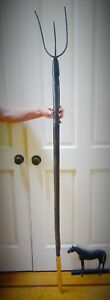 Antique Primitive 3 Tine Steel Hay Fork Or Pitchfork Extra Long Handle W Brass