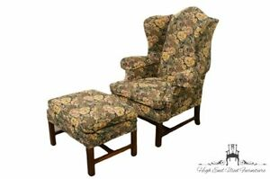 Lineage Home Furnishings Floral Upholstered Wingback Arm Chair And Ottoman