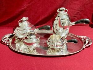 Georg Jensen 5 Piece Sterling Tea Coffee Set With Matching Tray