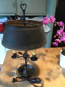 Antique French Bronze Bouillotte Lamp With Metal Tole Shade Marked France