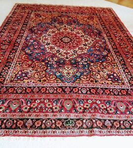 Antique Persian Carpet Bidjar Bijar Hand Woven Signed Oriental Rug