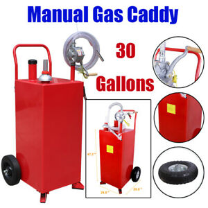 30 Gallons Hand Crank Gas Caddy Fuel Gasoline Fluid Diesel Storage Transfer Tank