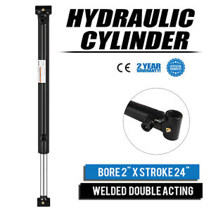 Hydraulic Cylinder 2 Bore 24 Stroke Double Acting Steel Application Welded