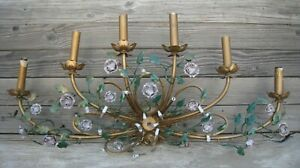 Vintage Antique Wall Sconce Chandelier 6 Light Candelabra Italy Tole Metal