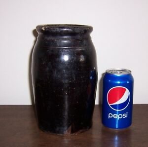 Vintage Crock Jar Pottery Dark Brown Albany Slip Glaze 8 1 2 Tall 6