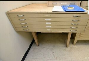 Flat File Map Cabinet Drafting Photos vintage Heavy Duty Strong