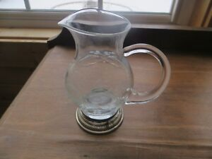 Etched Crystal Glass Floral Design Sterling Silver Base Creamer Or Syrup Pitcher