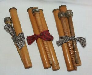 Vintage Antique Primitive Wooden Wood Textile Bobbins Spools Spindles