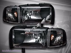 94 01 Dodge Ram 1500 94 02 2500 3500 Black Headlights 95 96 97 98 99 00