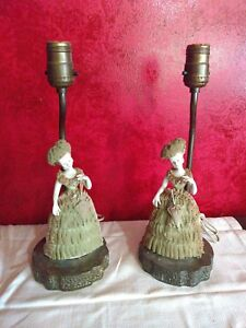 2 Antique Porcelain Lady Lamps Vtg Dresden Glass Lace As Is No Shades Pair Works