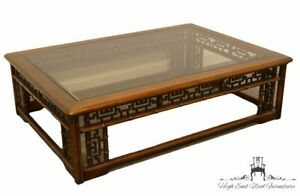 High End Asian Chinoiserie Modern 57x41 Glass Topped Coffee Cocktail Table