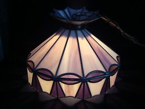 Vintage Hanging Leaded Purple Stained Glass Swag Lamp Shade Light Plug In