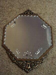 Rare Vintage Mid Century Gold Gilt Gesso Wood Framed Beveled Etched Wall Mirror
