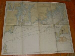 Old Working 1937 Nautical Chart Martha S Vineyard To Block Island Usc