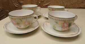 Set Of 4 Beautiful Hand Painted Made In Germany Cup Saucer Sets Floral Design