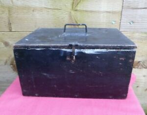 Vintage Black Wooden Box Tool Box Storage Chest Trunk Hobbies Crafts Sewing Box