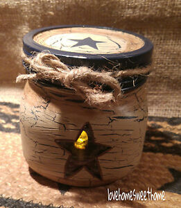 Primitive Crackle Tan Navy Blue Lighted Mason Jar Country Decor