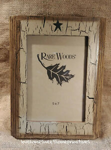 Primitive Crackle Painted Tan Black Stars Wood Picture Frame 5x7
