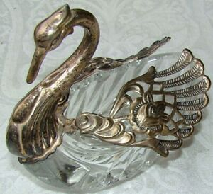 Large 5 1 2 Ornate Repousse Silver Plate Wing Cut Glass Swan Open Salt Cellar