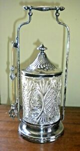 Antique Pairpoint Silver Plate Pickle Castor With Tongs