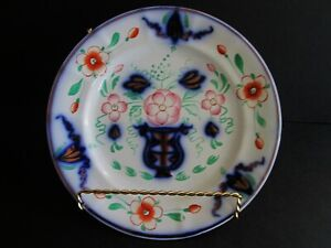 Antique British Pottery 1820 Flow Blue Gold Luster Gaudy Dutch Welsh Plates