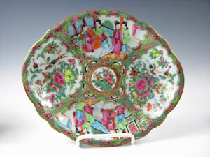 Antique Rose Medallion Chinese Export Porcelain Dish Bowl 19th Century