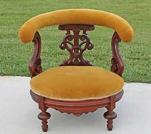 Highly Carved Walnut Victorian Ladies Boudoir Vanity Dressing Bustle Bench Chair