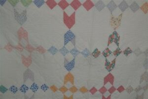 Vintage Quilt Patchwork Hand Made White Antique 76x88 In 1920 Cotton Original