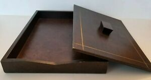 Letter Tray Vintage Weighted Lid leather Executive Desk Office Accessory