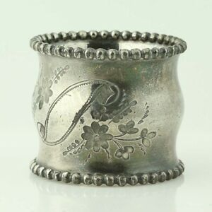 Vintage Contoured Round Napkin Ring Silver Plate Etched Floral Scroll