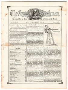 The Country Gentleman March 9 1854 Albany Ny Carrington S Plains Ops Map