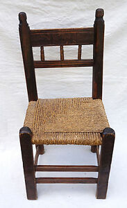 Antique Spanish Fan Engraved Wood Braided Rush Seat Chair Early 18th C A