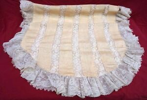 French Lace Moire Silk Cream Bedspread Coverlet Baby Cradle 1900