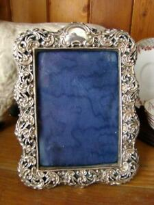 Gorgeous Antique Deakin Francis Sterling Picture Frame Leather Back Stand